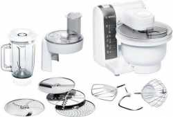 Bosch MUM48020DE Küchenmaschine mit 3D Rührsystem MultiMotion Drive und Mixaufsatz - 600 Watt - Weiß