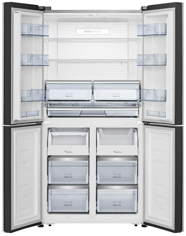 Hisense RQ689N4AF2 Multi Door Side-by-Side - No Frost - 542 Liter, Schwarz / Edelstahl Look - A++